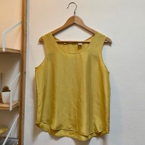 Vintage Silk Yellow Sleeveless Tank Blouse, Sz M/L